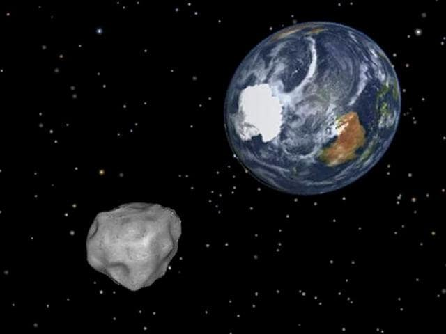 A graphic image of Asteroid UW-158 approaching earth. (AP Photo)