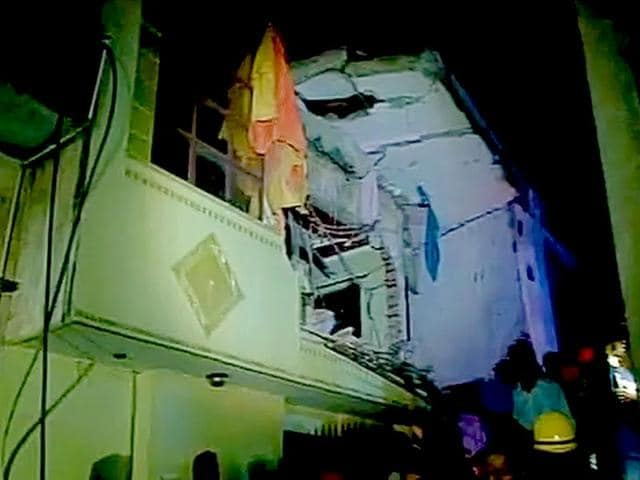 Building collapses in Vishnu Garden in west Delhi. (ANI Photo)