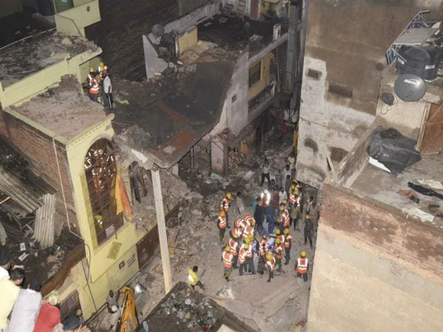 Building collapses in Vishnu Garden in west Delhi. (ANI Photo)