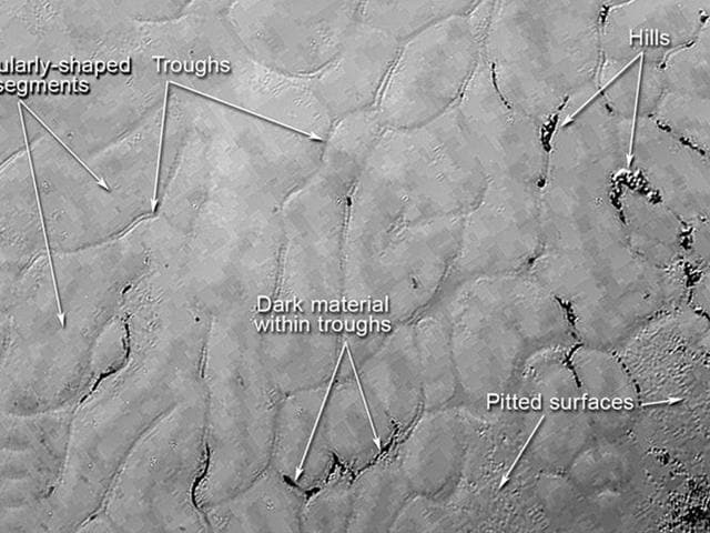 """In the center left of Pluto's vast heart-shaped feature – informally named """"Tombaugh Regio"""" - lies a vast, craterless plain that appears to be no more than 100 million years old, and is possibly still being shaped by geologic processes. This frozen region is north of Pluto's icy mountains and has been informally named Sputnik Planum (Sputnik Plain), after Earth's first artificial satellite. Credits: NASA/JHUAPL/SWRI"""