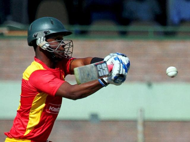 Zimbabwe opener Chamu Chibhabha's 67 off 51 balls formed the backbone of his team's total against India in the final T20 cricket match, in Harare on July 19, 2015. (Reuters Photo)