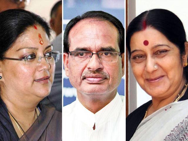 A combination Photo of Sushma Swaraj, Vasundhara Raje and Shivraj Singh Chouhan. (HT Photo)