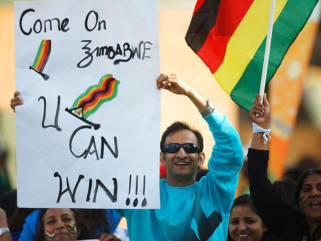 Zimbabwe players thrilled their supporters with the 10-run win over India in the second and final T20 game of the series, at the Harare Sports Club on July 19, 2015. (AFP Photo)
