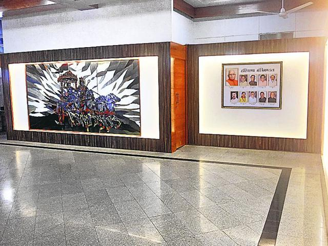The new-look lobby at the entrance of the Haryana Civil Secretariat in Chandigarh. (HT Photo)