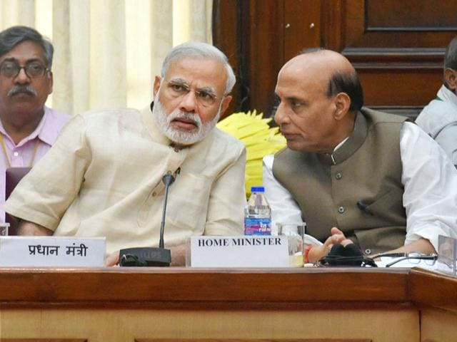 Prime Minister Narendra Modi with home minister Rajnath Singh during an all-party Meeting at Parliament House in New Delhi on Monday. (PTI Photo)