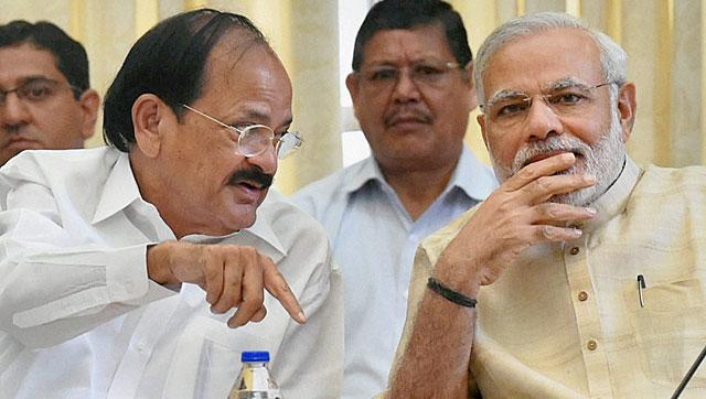 File photo of parliamentary affairs minister Venkaiah Naidu (Centre).  Naidu expressed hope that the GST bill will be passed in the upcoming monsoon session of parliament.