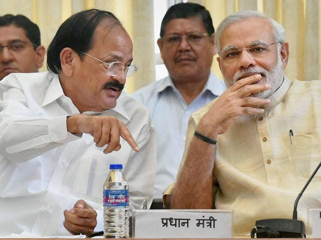 Prime Minister Narendra Modi with parliamentary affairs minister M Venkaiah Naidu during the all-party meeting at Parliament House in New Delhi. (PTI Photo)