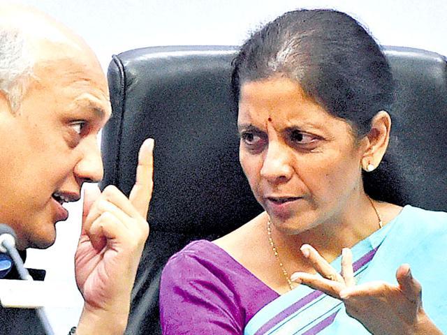 Commerce minister Nirmala Sitharaman with former Ficci president Sidharth Birla in New Delhi on Monday. (PTI Photo)