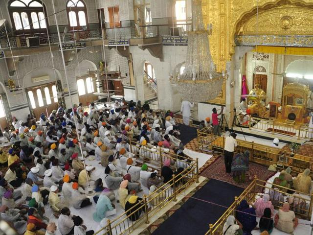 Prayers being held at gurdwara Patna Sahib. HT/ Photo