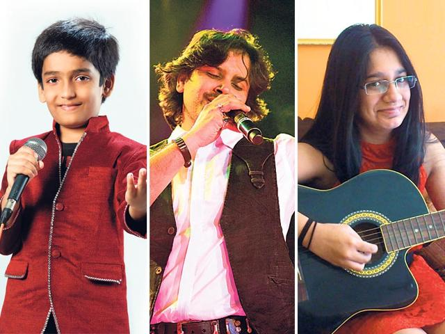Varenyam Pandya (left) and Aishani Banerjee (right) are among the youngest singers participating in Khazana in 2015. Also in this picture is Bollywood singer Javed Ali (centre).