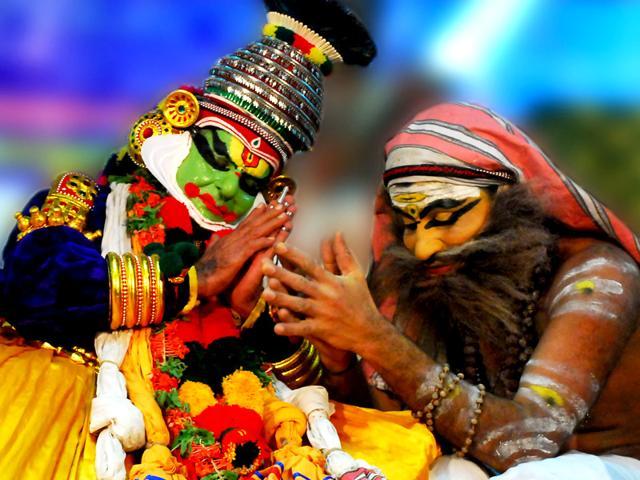 Chemancheri Kunhiraman Nair (left), the Kathakali dancer who is in his 100th year, during a performance. (Photo Courtesy: Sunil Sarang)