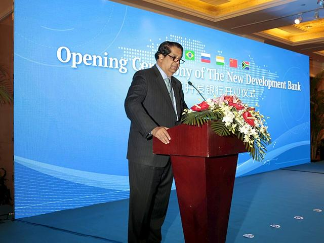 KV Kamath gives a speech during the opening ceremony of the New Development Bank in Shanghai, China. (Reuters)