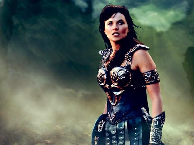 Lucy Lawless in a still from Xena: The Warrior Princess.