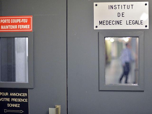 The entrance of the forensic medicine institute in Strasbourg, eastern France, where remains belonging to victims of Nazi anatomy professor August Hirt have been found. (AFP Photo)