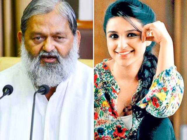 The much-awaited faceoff between the two natives of Ambala – five-time MLA Vij and chief minister Manohar Lal Khattar's choice of brand ambassador Parineeti – was finally not to be. (HT Photo)
