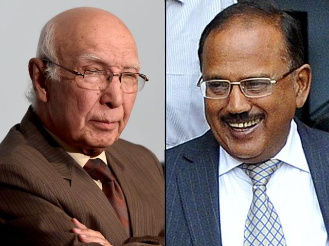 "Sartaj Aziz (L) and Ajit Doval, National Security Advisors of Pakistan and India. HT has learnt that Pakistan is preparing a dossier on ""India's role in fomenting terrorism in Balochistan and Karachi"" when the two NSAs meet in August."