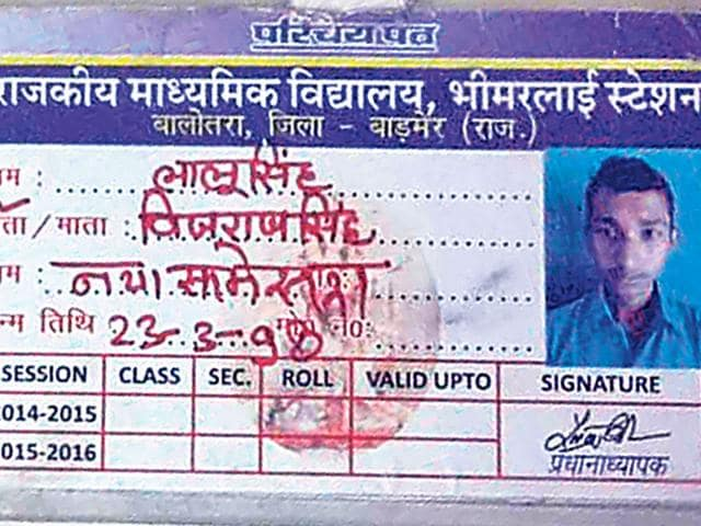 A photograph of Lalu Singh's identity card. His name was struck off from the school register in Barmer. (HT Photo)