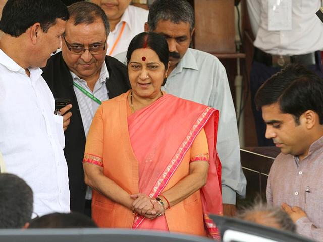 External affairs minister Sushma Swaraj at the Parliament house on the opening day of the monsoon session, in New Delhi. (Arvind Yadav/HT Photo)