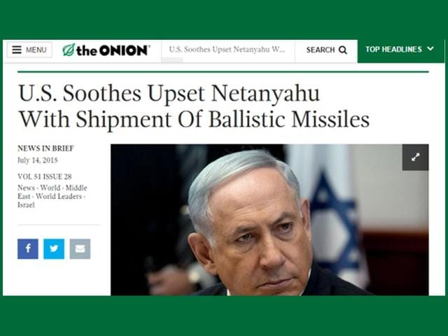 A screengrab of American satire website The Onion's article on Israel.
