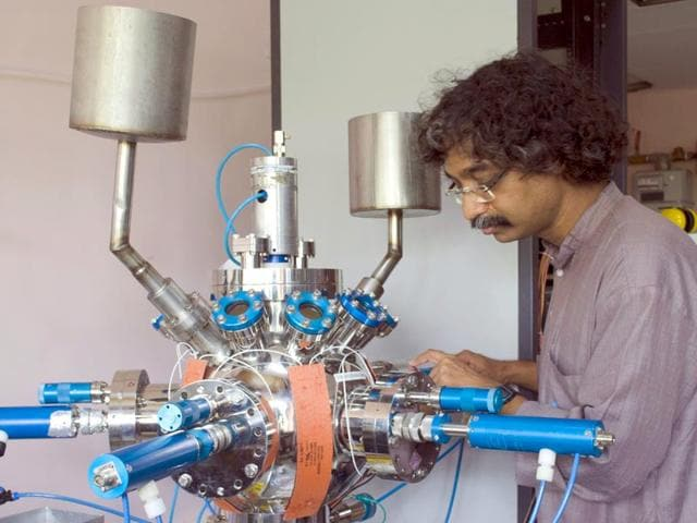 Arnab Bhattacharya at his lab in Tata Institute of Fundamental Research (TIFR), Colaba.