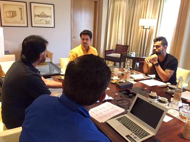 The BCCI national selection committee, along with Test captain Virat Kohli, right, and BCCI secretary Anurag Thakur, second from right, at a meeting in New Delhi on July 23, 2015 to announce the squad for the three-Test tour of Sri Lanka. (Photo: Facebook.com/IndianCricketTeam)