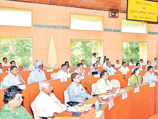 Ministers, along with other participants, attend the first day of the conference of district collectors and SPs, at CMO in Jaipur on Wednesday. HT Photo