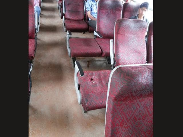 Pictures of coaches damaged by vandals on Eid. Photo credit: Northern railway