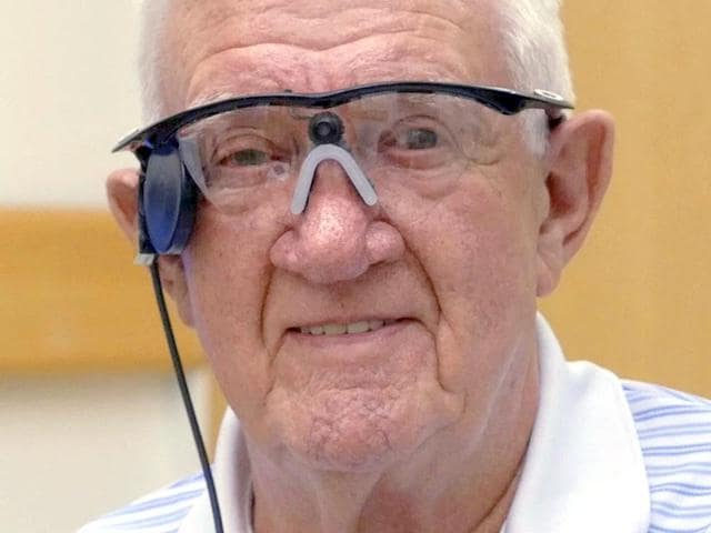 This handout picture released by the Central Manchester University Hospitals NHS Foundation Trust press office on July 22, 2015, shows part of the device fitted to age-related macular degeneration (AMD) sufferer Ray Flynn, at Manchester Royal Eye Hospital in Manchester (AFP Photo)