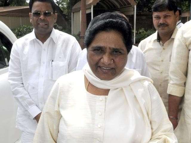 File photo of BSP Chief Mayawati arriving to attend monsoon session at Parliament House, in New Delhi.