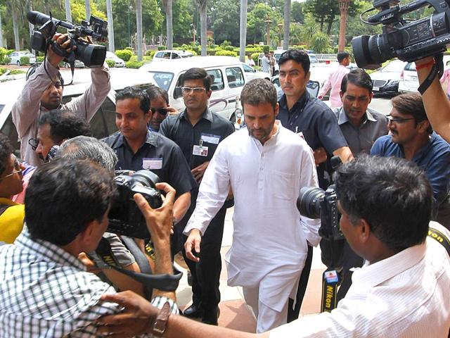 Congress Vice President Rahul Gandhi at Parliament House, ongoing Monsoon session in New Delhi, India, on Wednesday, July 22, 2015 (Arvind Yadav/HT Photo)