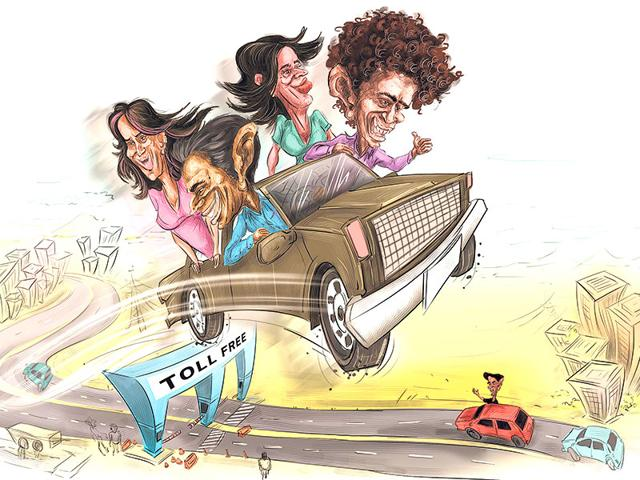 People living in Navi Mumbai cannot drive into or out of Mumbai without paying a toll. (Illustration: Chetan Patil)