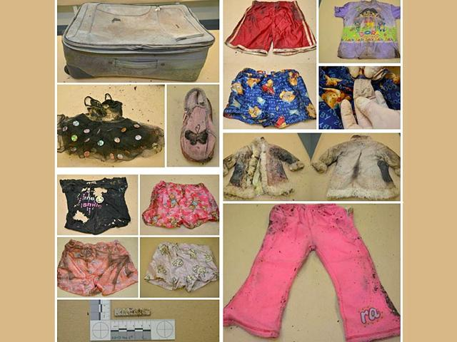 This undated handout received on July 24, 2015 from South Australia police shows a montage of photos showing a suitcase (top-L) which contained child's clothing and the bones of a child when it was found on July 14, 2015 in Wynarka, southeast of Adelaide. (AFP Photo)
