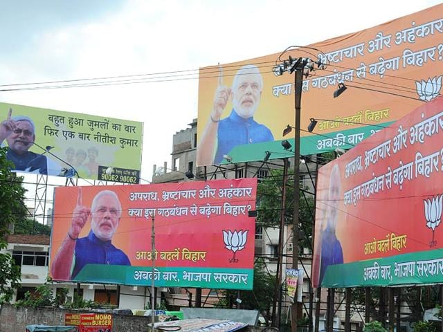 Hoardings of BJP and JD(U) in Patna. (AP Dube/HT Photo)