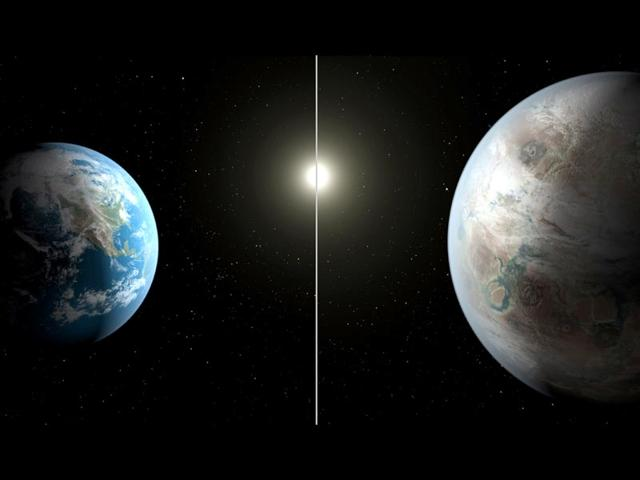 This Nasa artist's concept compares Earth (left) to the new planet, called Kepler-452b, which is about 60% larger in diameter. (AFP PHOTO)