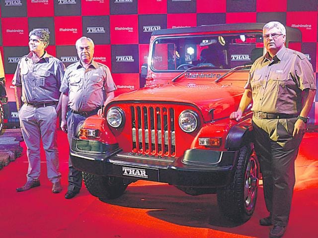 Mahindra and Mahindra on Thursday unveiled the new Thar priced at Rs. 8.03 lakh. New features include an auto-engaging differential and a 2,500-cc CRDe engine. Photo:HT