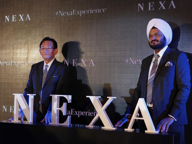 Maruti Suzuki India Ltd 's MD and CEO Kenichi Ayukawa with R. S. Kalsi, Executive Director, Marketing & Sales, Maruti Suzuki (India) during launched ' NEXA''its new premium sales channel in New Delhi, India, on Thursday, July 23, 2015. Photo: Arvind Yadav/Hindustan Times