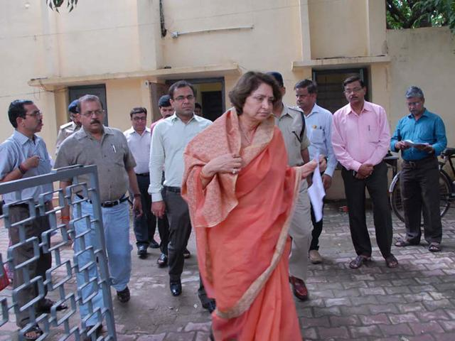 Women and child development minister Maya Singh at Gwalior Nari Niketan on Friday following escape of six more inmates. (HT photo)