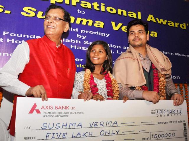Fifteen-year-old Sushma Verma, the youngest postgraduate in the country, has now achieved yet another milestone by becoming the youngest Indian to get enrolled in the PhD course at Babasaheb Bhimrao Ambedkar University (BBAU) in Lucknow. (HT photo)