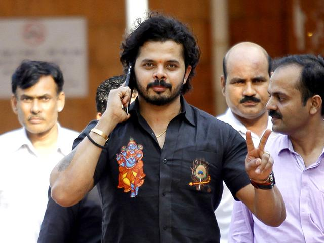 Former India cricketer S Sreesanth leaves Patiala House Court after he, Ajit Chandila, and Ankeet Chavan were exonerated of spot fixing charges in the 2013 IPL spot-fixing case on Saturday, July 25, 2015. (Ravi Choudhary/ HT Photo)