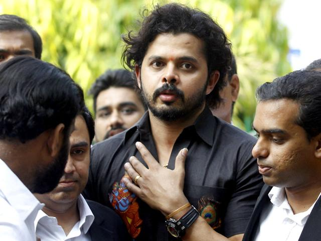 Cricketer S Sreesanth breaks down in court after all charges against him, as well as Ajit Chandila and Ankeet Chavan, were dropped in the IPL 2013 spot fixing case, on July 25, 2015. (Avantika Mehta/HT Photo)