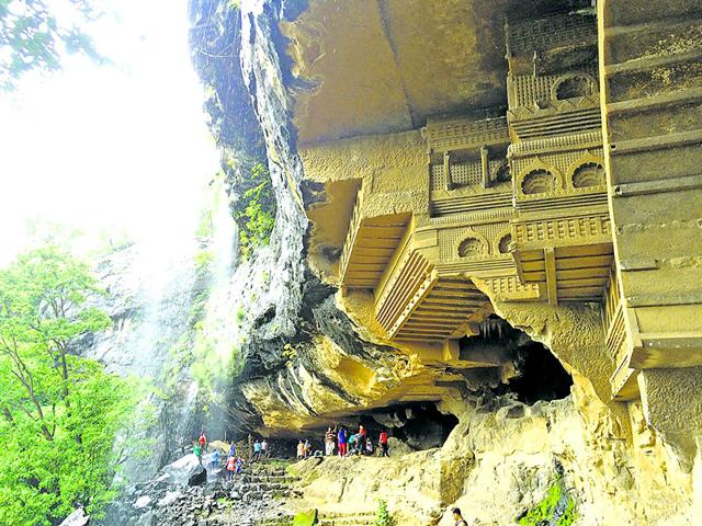 This set of 16 Buddhist caves, excavated in the 1st century BC, are known for intricate sculptures on the façade, especially of common men and women. (Photo: Sandesh Lad)