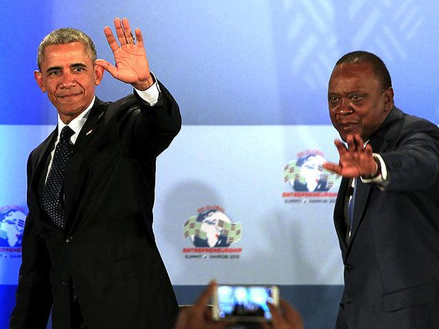 US President Barack Obama (L) and Kenya's President Uhuru Kenyatta (R) gesture onstage after delivering remarks at the Global Entrepreneurship Summit at the United Nations compound in Nairobi, Kenya. (Reuters)