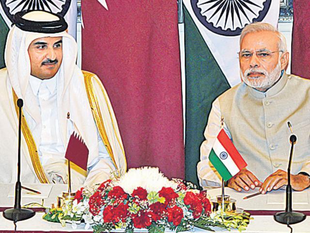 PM Narendra Modi and the Emir of the State of Qatar Sheikh Tamim Bin Hamad Al-Thani at Hyderabad House in New Delhi. (PIB File Photo)