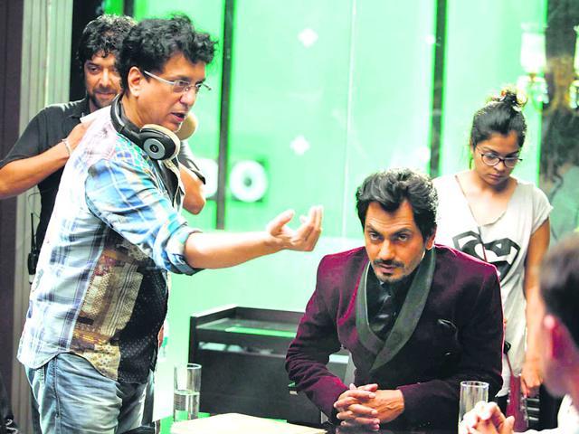 Sajid Nadiadwala explaining a shot to Nawazuddin Siddiqui during the shoot of Kick (2014).
