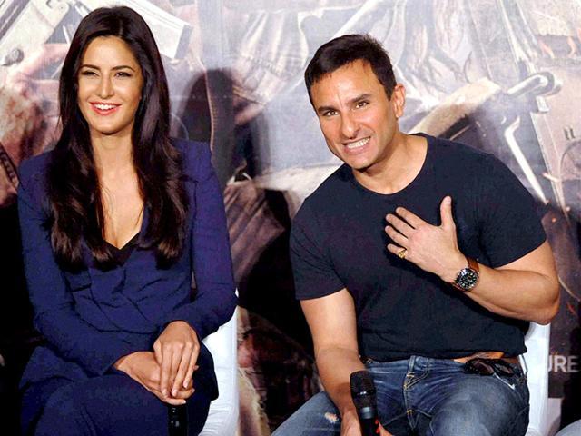 Katrina Kaif and Saif Ali Khan during the trailer launch of film Phantom in Mumbai. (PTI Photo)