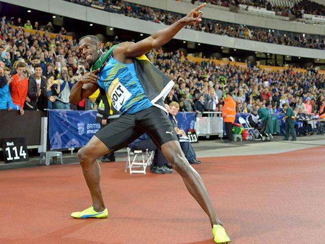 Usain Bolt of Jamaica poses after winning the 100m in 9.87 seconds during the 2015 Sainsbury's Anniversary Games at the Queen Elizabeth Olympic Park Stadium in London, on July 24, 2015. (Reuters Photo)