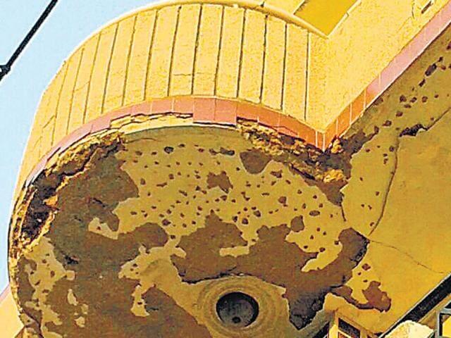 Chunks fell off the ceiling of a balcony in a DDA flat at Dwarka. (Handout)