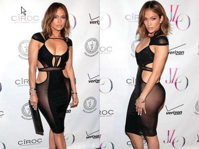 Jennifer Lopez left little to imagination in this sheer dress on her 46th birthday. (Twitter)