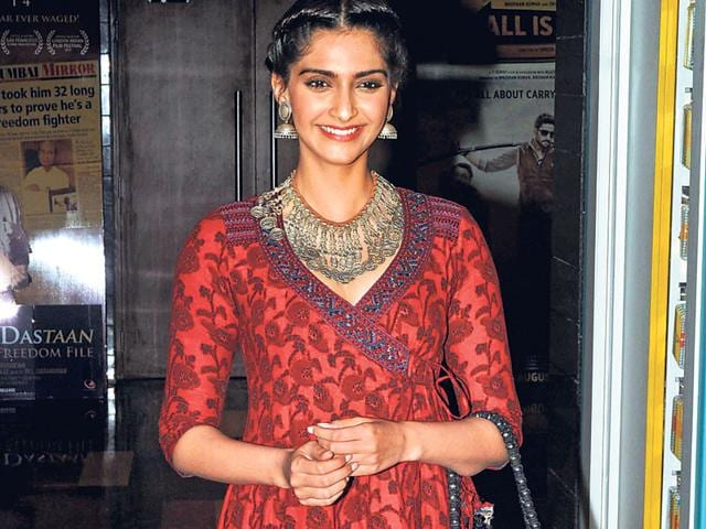 Sonam Kapoor walks the ramp displaying a creation during the India International Jewellery Week in Mumbai. (Agencies)