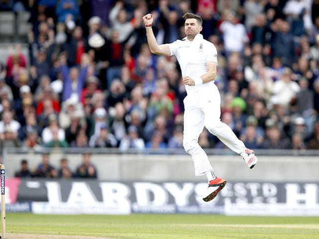 James Anderson celebrates dismissing Australia's Mitchell Marsh (not in picture). (Reuters Photo)
